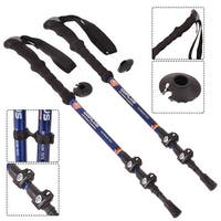 Costway New Pair 2 Trekking Walking Hiking Sticks Poles Adjustable Alpenstock Anti-shock - as pic