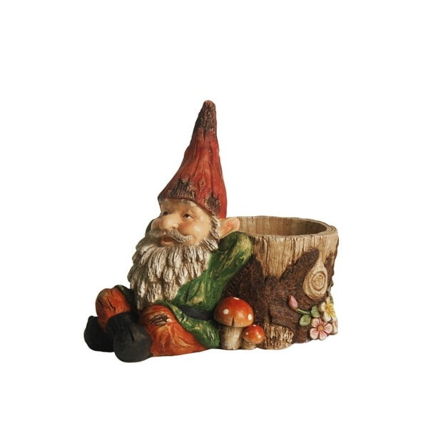 "9.5"" Weathered Green and Red Lounging Gnome Outdoor Garden Statue and Tree Stump Flower Planter"