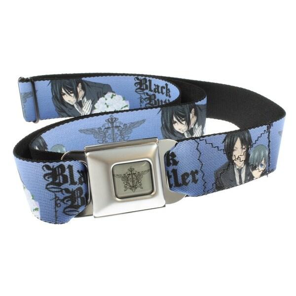 Black Butler Seatbelt Belt - Sebastian & Ciel Blue-Holds Pants Up