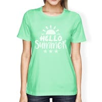 Hello Summer Sun Womens Graphic Tee Shirt Short Sleeve Round Neck
