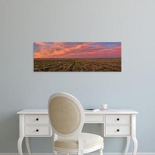 Easy Art Prints Panoramic Image 'Clouds, Landscape, Prairie Ridge  Natural Area, Marion County, Illinois' Canvas Art