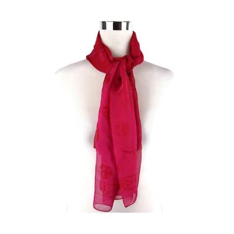 Alexander McQueen Women's Pink / Red Silk Chiffon Skull Print Scarf 345016 6572 - One Size
