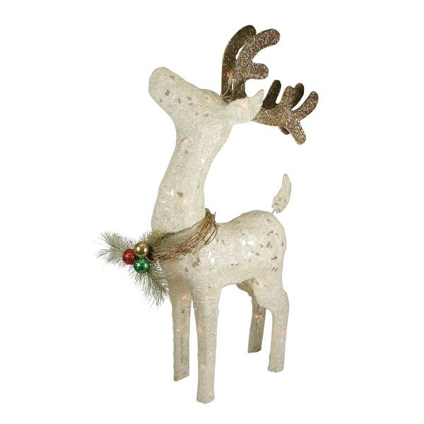 37 Lighted Sparkling Sisal Standing Reindeer Outdoor Christmas Decoration N A
