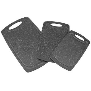 3 Piece Double Sided Plastic Cutting Board Set with Deep Juice Groove, Black