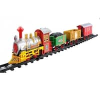 12-Piece Battery Operated Lighted and Animated Christmas Express Train Set with Sound - RED