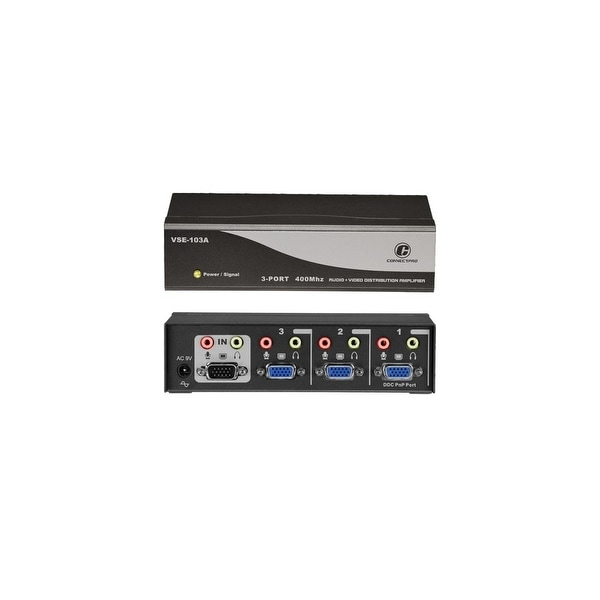 Connectpro VSE-103A Connectpro VSE-103A, 3-port 400MHz Video/Audio Splitter - 1 x Video In, 3 x Video Out, 1 x Audio Line In, 3