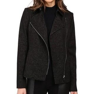 Calvin Klein NEW Black Women's Size 2 Motorcycle Speckled Jacket
