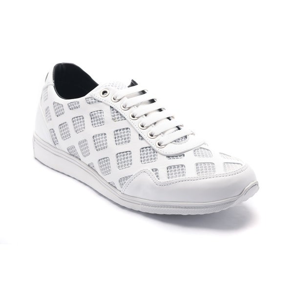 Versace Collection Men's Laser Cut Leather Mesh Sneaker Shoes White