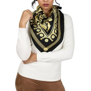 Versace Black/Gold Baroque Print Silk Foulard Scarf - 34-34|https://ak1.ostkcdn.com/images/products/is/images/direct/39c213d44336f651d12014c0fcec6256d296d149/Versace-Black-Gold-Baroque-Print-Silk-Foulard-Scarf.jpg?impolicy=medium