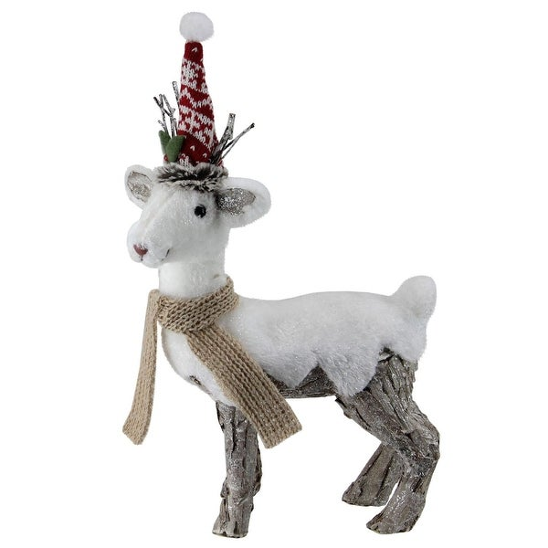 "14"" White and Brown Standing Reindeer Christmas Decoration"