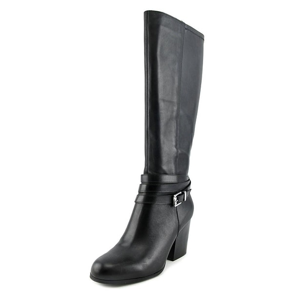 Bar III Paisley Women Round Toe Leather Black Knee High Boot