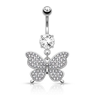 "Micro Pave CZ Butterfly Dangle Surgical Steel Belly Button Navel Ring-14GA-3/8"" Length (Sold Ind.)"