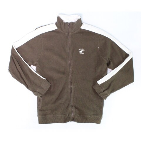 Beverly Hills Polo Club Brown Mens Size Large L 1/2 Zip Jacket