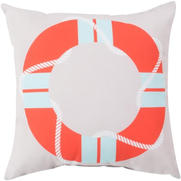 "20"" Above Water Baby Blue and Coral Red Decorative Throw Pillow Shell"