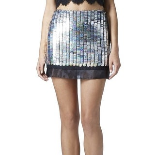 Topshop NEW Silver Black Women's Size 6 Mini Sequin Embellish Skirt