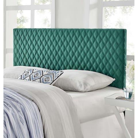 Lemont Diamond Shaped Green Velvet Upholstered Twin Size Headboard