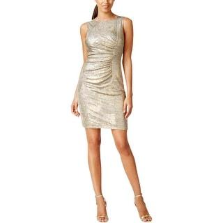 Calvin Klein Womens Petites Cocktail Dress Ruched Metallic