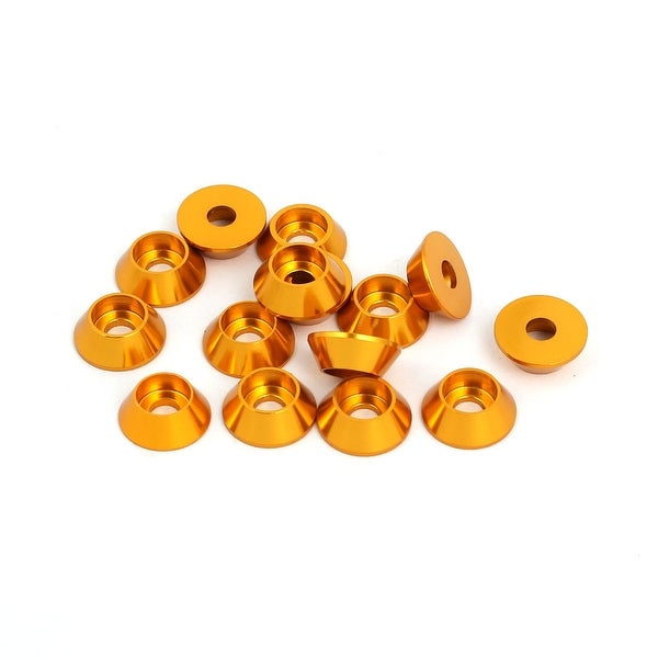 M3 Aluminium Alloy Cone Shaped Round Cup Fender Bumper Washer Gold ...