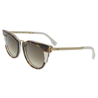 Fendi FF0063S 0MUV Havana Beige Gold Round Sunglasses