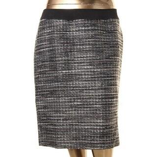Tahari ASL Womens Plus Pencil Skirt Boucle Metallic - 14W