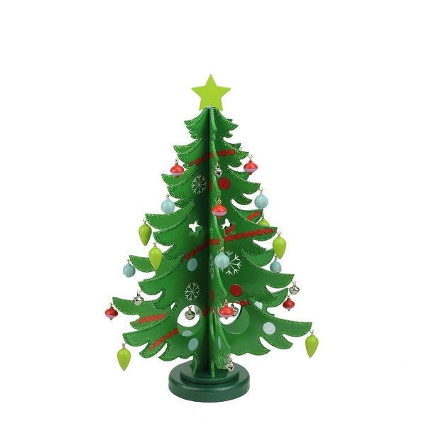 "13.75"" Decorative Wooden Christmas Tree Cut-Out Table Top Decoration - green"