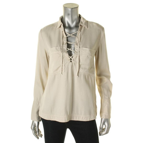 a04ab064976476 Shop Free People Womens Blouse Tencel Lace-Up - Free Shipping On ...