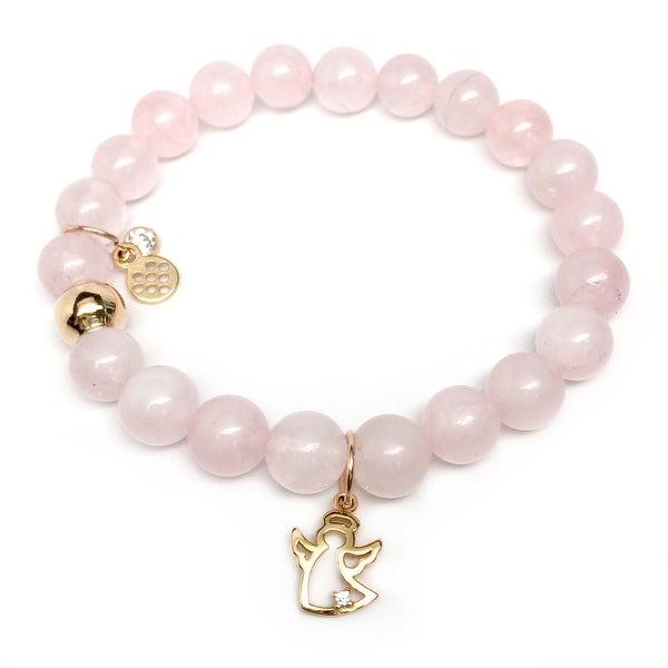 "Pink Rose Quartz CZ Angel Gold Charm Zoe 7"" Bracelet"