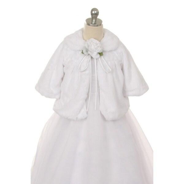 Kids Dream White Faux Fur Special Occasion Half Coat Girls 2T