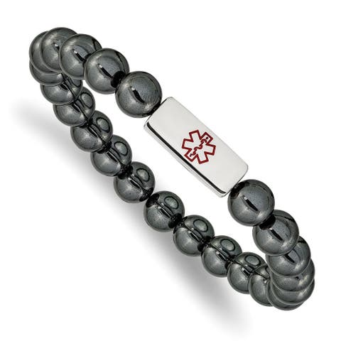 Chisel Stainless Steel Polished Medical ID Plate Hematite Bead Stretch Bracelet