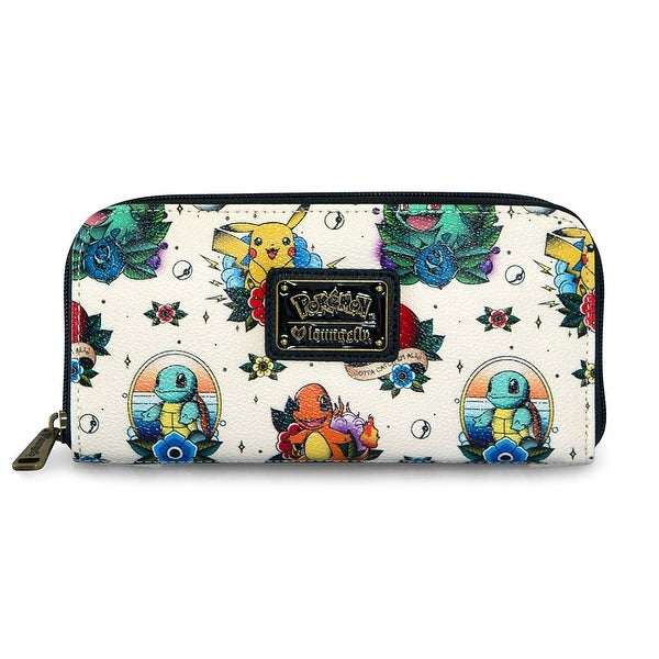 434319427f7f Loungefly Pokemon Tattoo Pikachu Squirtle Charmander Bulbasaur Vegan Wallet  - One Size Fits Most
