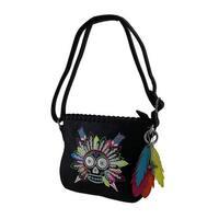 Feathered Sugar Skull Embroidered Handbag w/Adjustable Strap