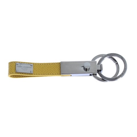 Dolce & Gabbana Dolce & Gabbana Silver Brass Yellow Leather Keychain - One size