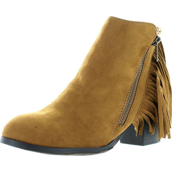 Soda Women's Noriko Faux Suede Fringe Moccasin Ankle Boot - British Tan