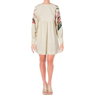 Free People Womens Juniors Shirtdress Embroidered A-Line