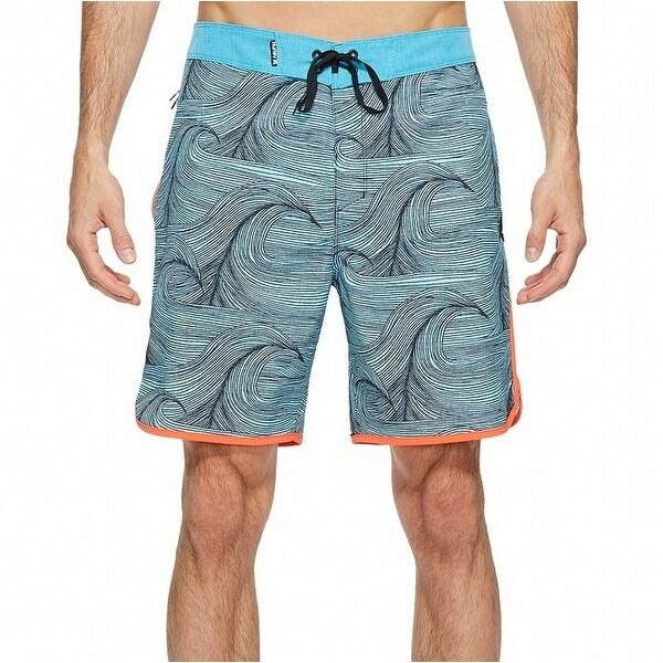 58f6e5e21f Shop Hurley NEW Blue Orange Mens Size 33 Wave Printed Swim Board ...