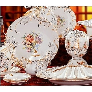 Luxury Design gilt gold embossed floral dinnerware set