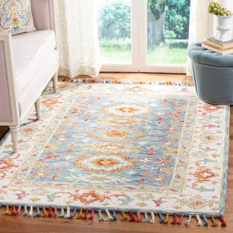 SAFAVIEH Handmade Aspen Bohemian & Eclectic Floral & Botanical Blue/Ivory Wool Rug