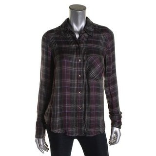 Free People Womens Button-Down Top Plaid Long Sleeves