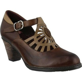 L'Artiste by Spring Step Women's April Mary Jane Brown Multi Leather