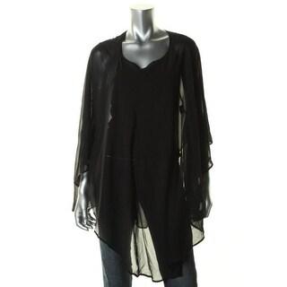 Eileen Fisher Womens Poncho Top Silk Georgette - o/s