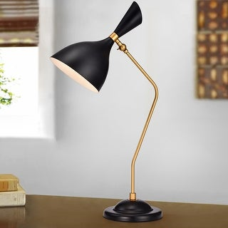 Bartolome Matte Black and Gold with 1 Light Bulb Table Lamp