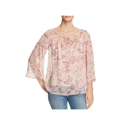 Status by Chenault Womens Peasant Top Sheer Floral Print