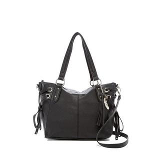 Jessica Simpson Womens Juliette Faux Leather Crossbody Satchel Handbag - Black - Medium