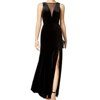 Nightway NEW Black Womens Size 8 Velvet Mesh Illusion Side-Slit Gown