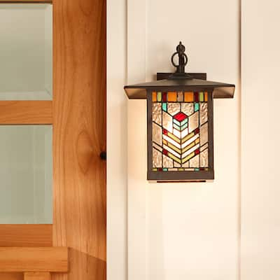 """River of Goods Multicolor Stained Glass and Oil Rubbed Bronze 1-Light Outdoor Lantern Wall Sconce - 10.75"""" x 9"""" x 11.75"""""""