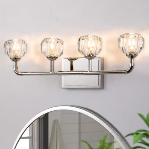 4-Light Polished Nickel Vanity Light with Polyhedron Clear Crystal Ball - Polished Nickel