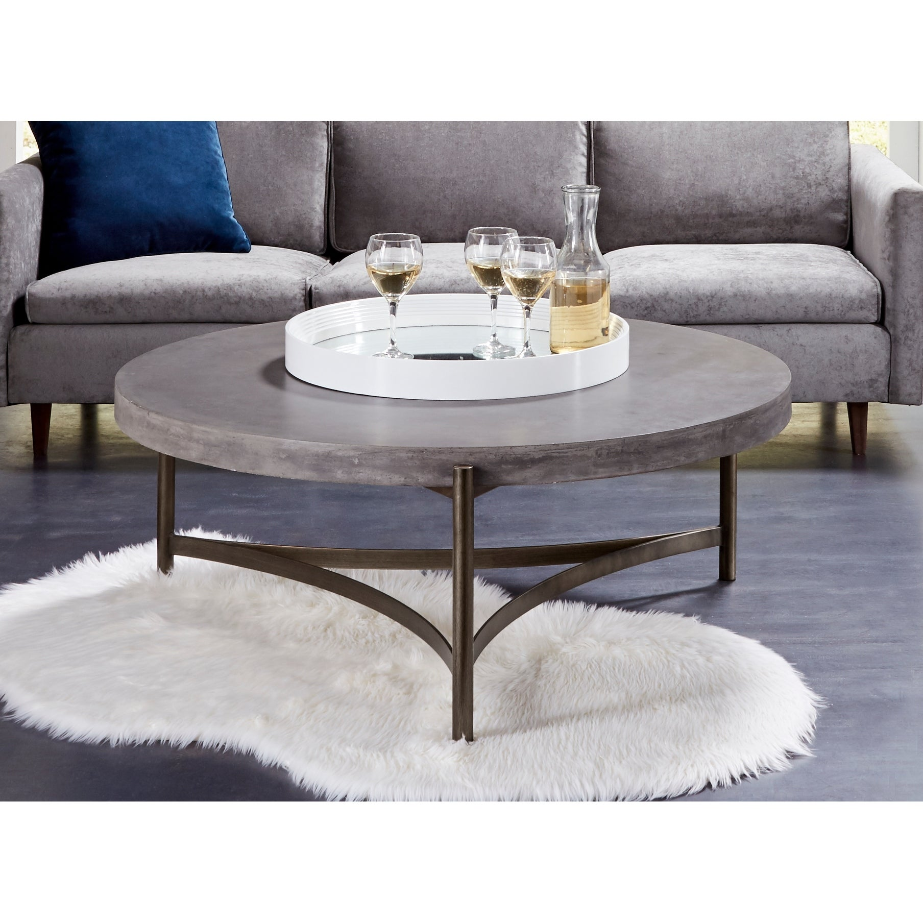 Lyon Round Concrete And Metal Coffee Table Overstock 31996399 [ 1808 x 1808 Pixel ]