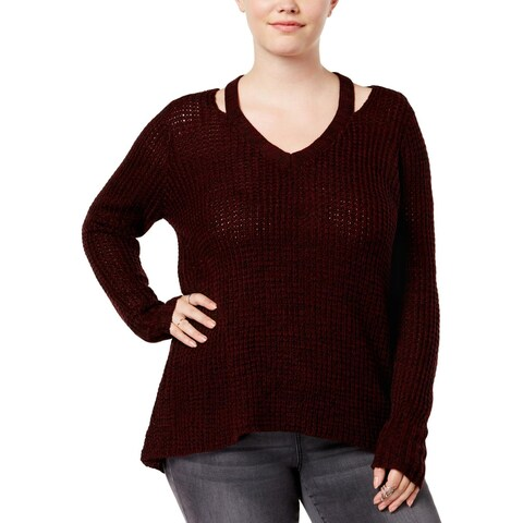 Derek Heart Womens Plus Poncho Sweater Ribbed Knit
