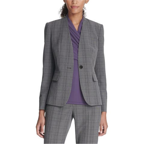 Dkny Womens Collarless One Button Blazer Jacket