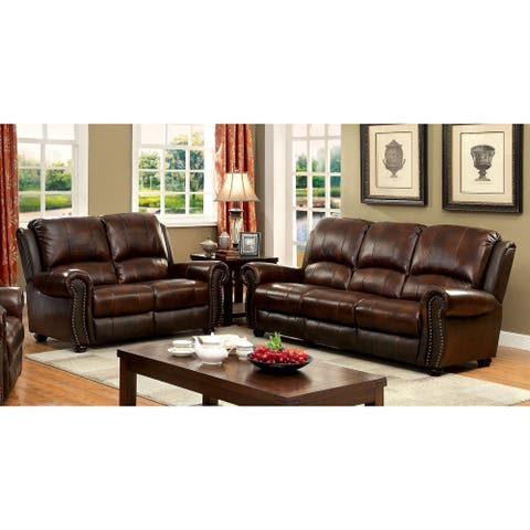 Furniture of America Drow Transitional 2-piece Brown Leather Sofa Set